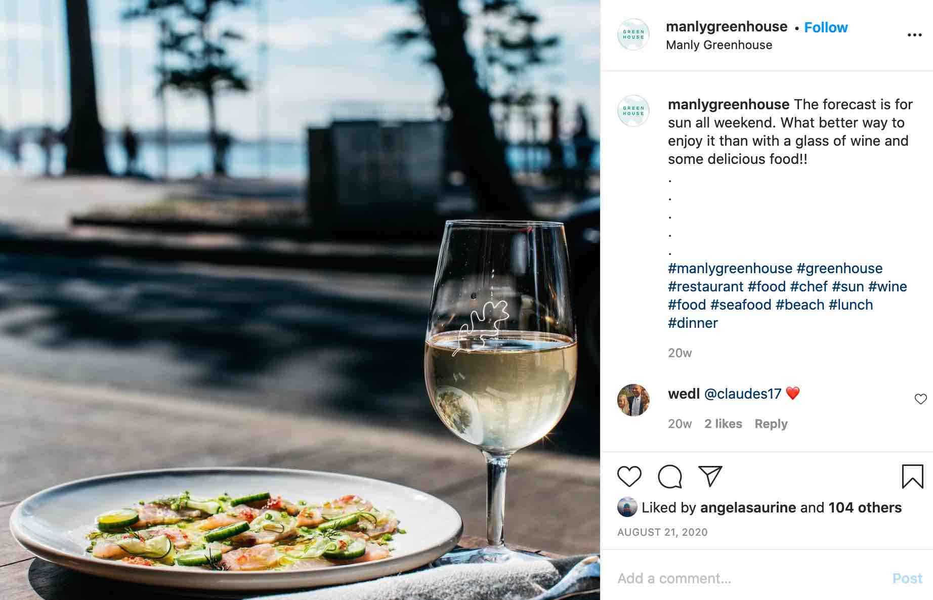 the manly greenhouse - covid friendly dating restaurants sydney